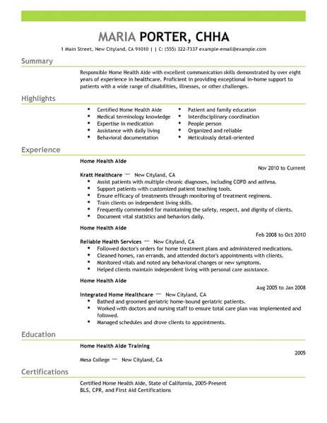 professional home health aide resume examples healthcare support livecareer work from Resume Work From Home Resume