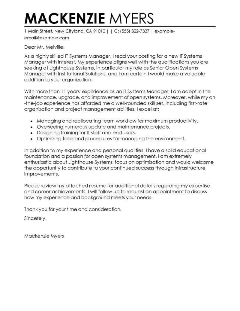 professional information technology cover letter examples livecareer good for resumes it Resume Good Cover Letter Examples For Resumes