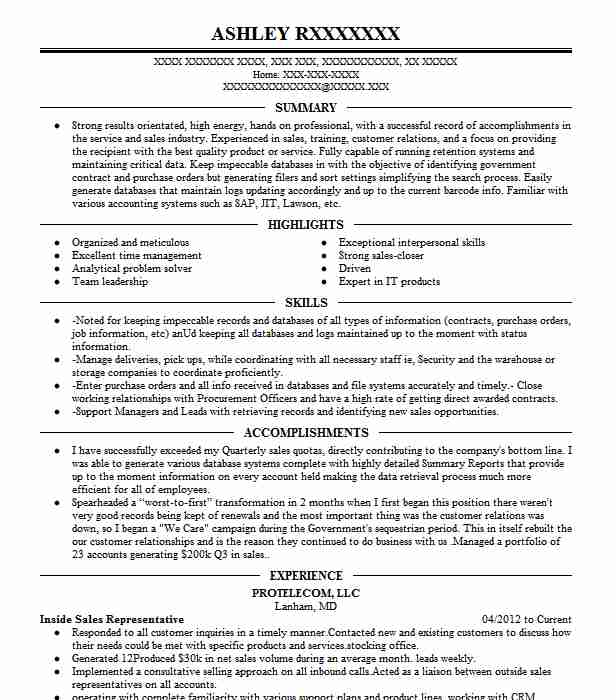 professional inside representative resume examples livecareer latest format for Resume Inside Sales Resume Examples