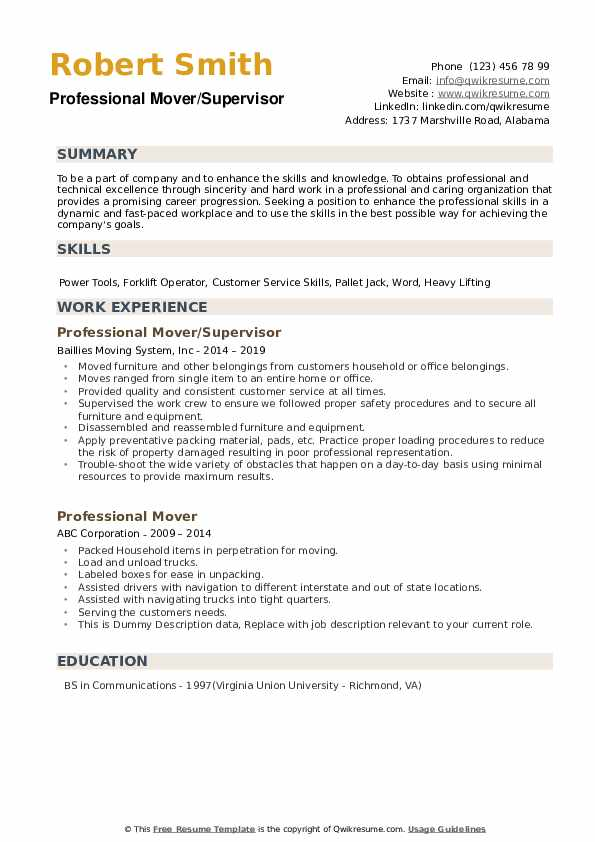 professional mover resume samples qwikresume moving company examples pdf human resources Resume Moving Company Resume Examples