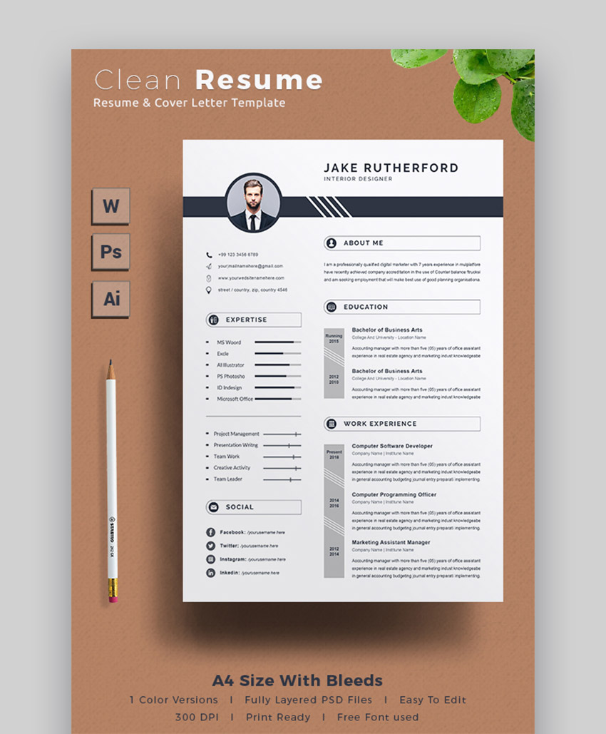 professional ms word resume templates cv design formats microsoft office graphicriver Resume Microsoft Office Resume Templates 2020