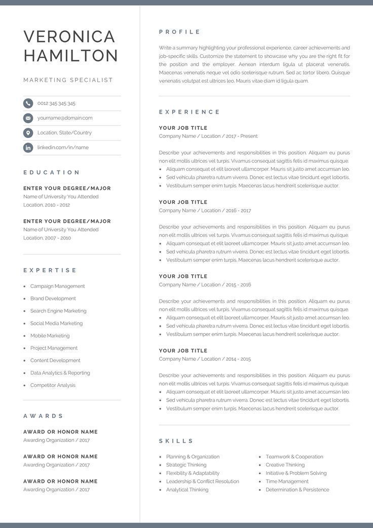 professional resume template compact etsy one format creative headings webpage and cover Resume One Page Resume Format