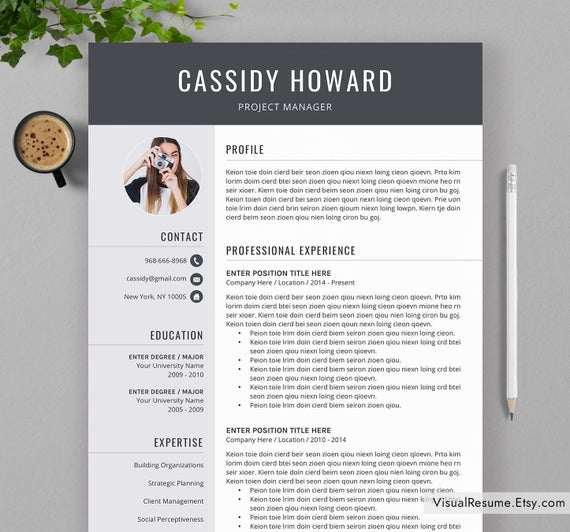 professional resume template for ms word creative cv etsy eye catching il 570xn l0a9 Resume Eye Catching Resume 2020