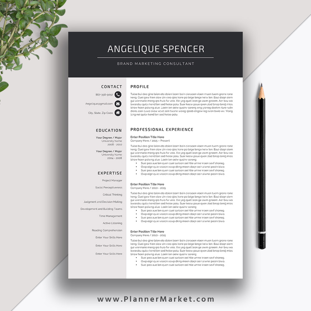 professional resume template for ms word cv creative modern design cover letter the Resume Professional Resume Design