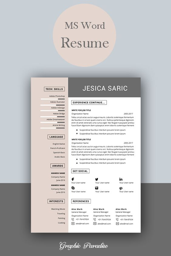 professional resume template instant word cv curriculum vitae cover letter modern free Resume Free Modern Resume Templates
