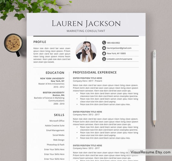 professional resume template modern cv word etsy eye catching il 570xn vi7t dataquest Resume Eye Catching Resume 2020