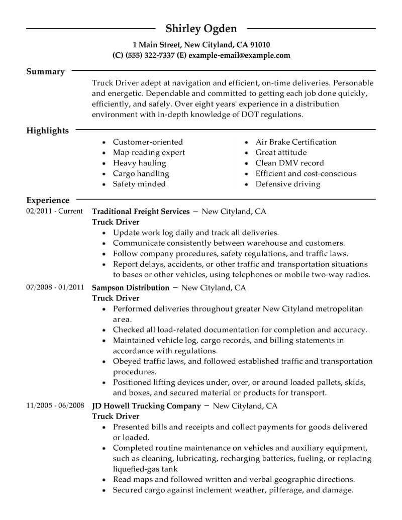 professional truck driver resume examples driving livecareer template for cdl Resume Resume Template For Cdl Truck Driver