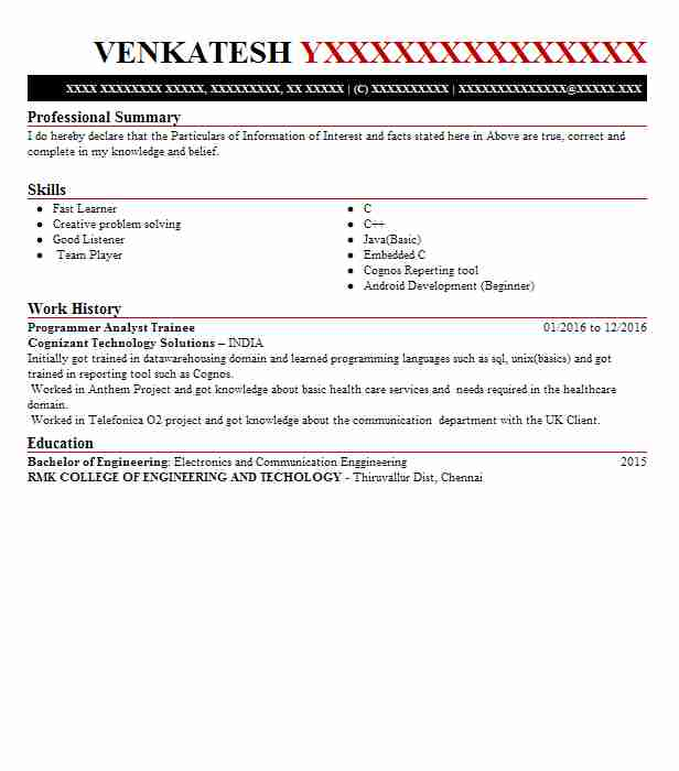programmer analyst trainee resume example company name detroit format for cts maker Resume Resume Format For Cts Company