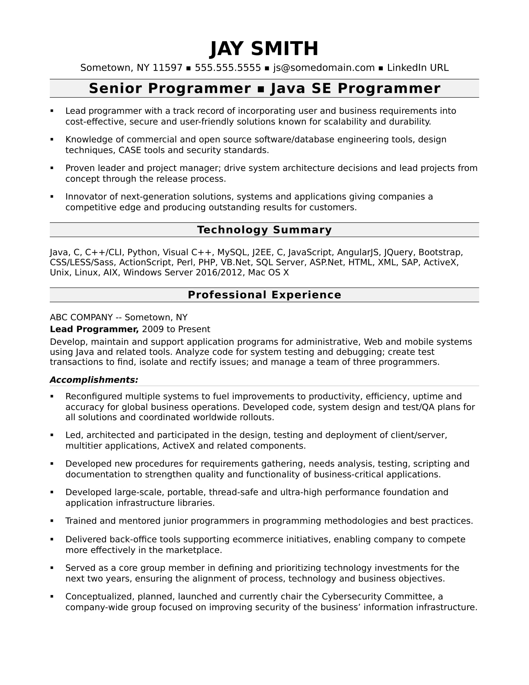programmer resume template monster accomplishments for computer experienced business Resume Accomplishments For Resume