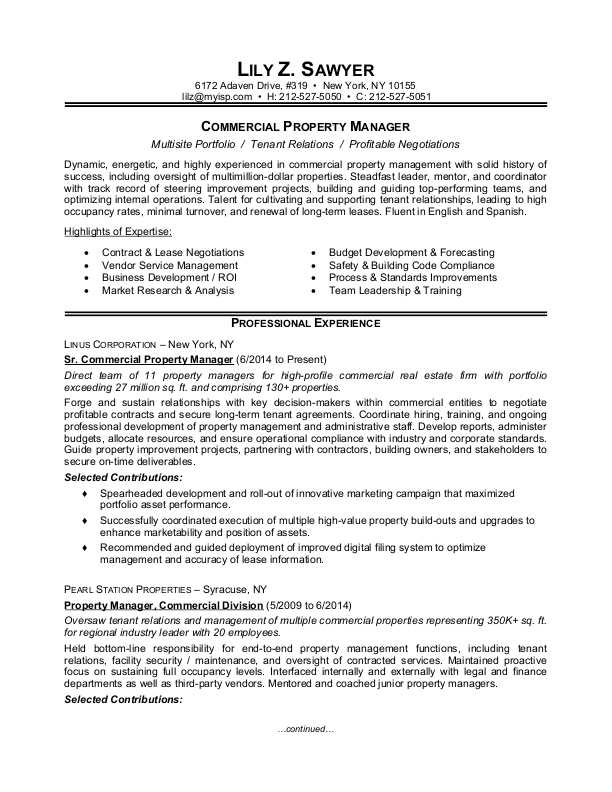 property manager resume sample monster estate example commercial company format free Resume Estate Manager Resume Example