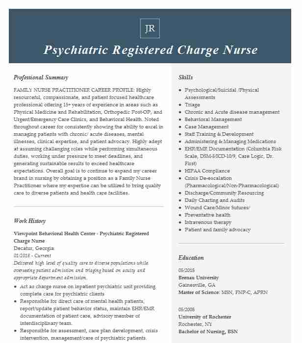 psychiatric charge nurse resume example company name property accountant job description Resume Psychiatric Charge Nurse Resume