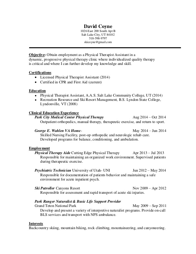 pta resume physical therapy templates free aircon technician human resources manager Resume Physical Therapy Resume Templates Free