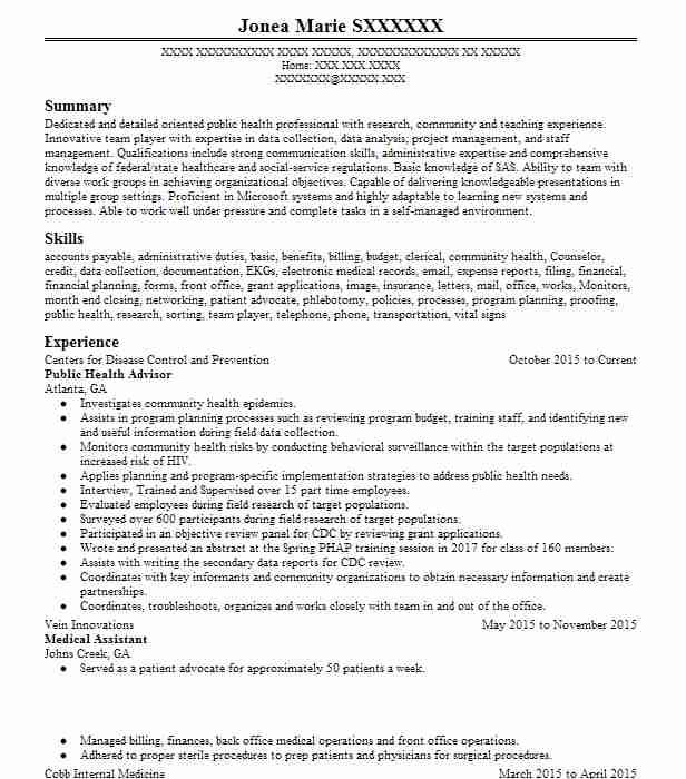 public health advisor resume example resumes livecareer template great objective line for Resume Public Health Resume Template
