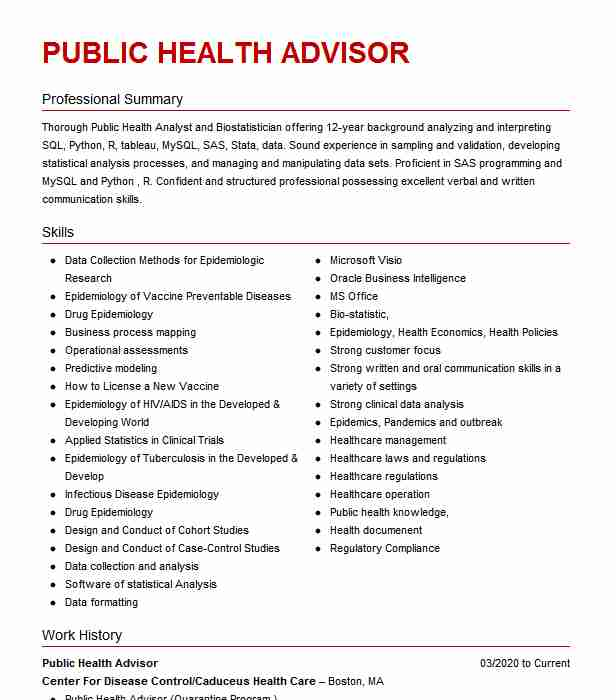 public health advisor resume example resumes livecareer template perform synonym customer Resume Public Health Resume Template