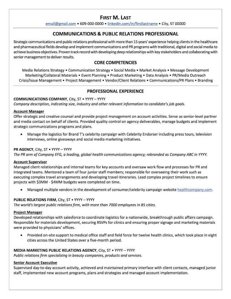 public relations resume sample professional examples topresume federal bank careers Resume Federal Bank Careers Resume Upload