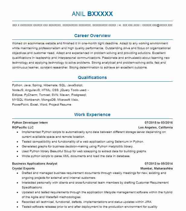 python developer intern resume example nike edison new for years experience feature sheet Resume Python Developer Resume For 2 Years Experience
