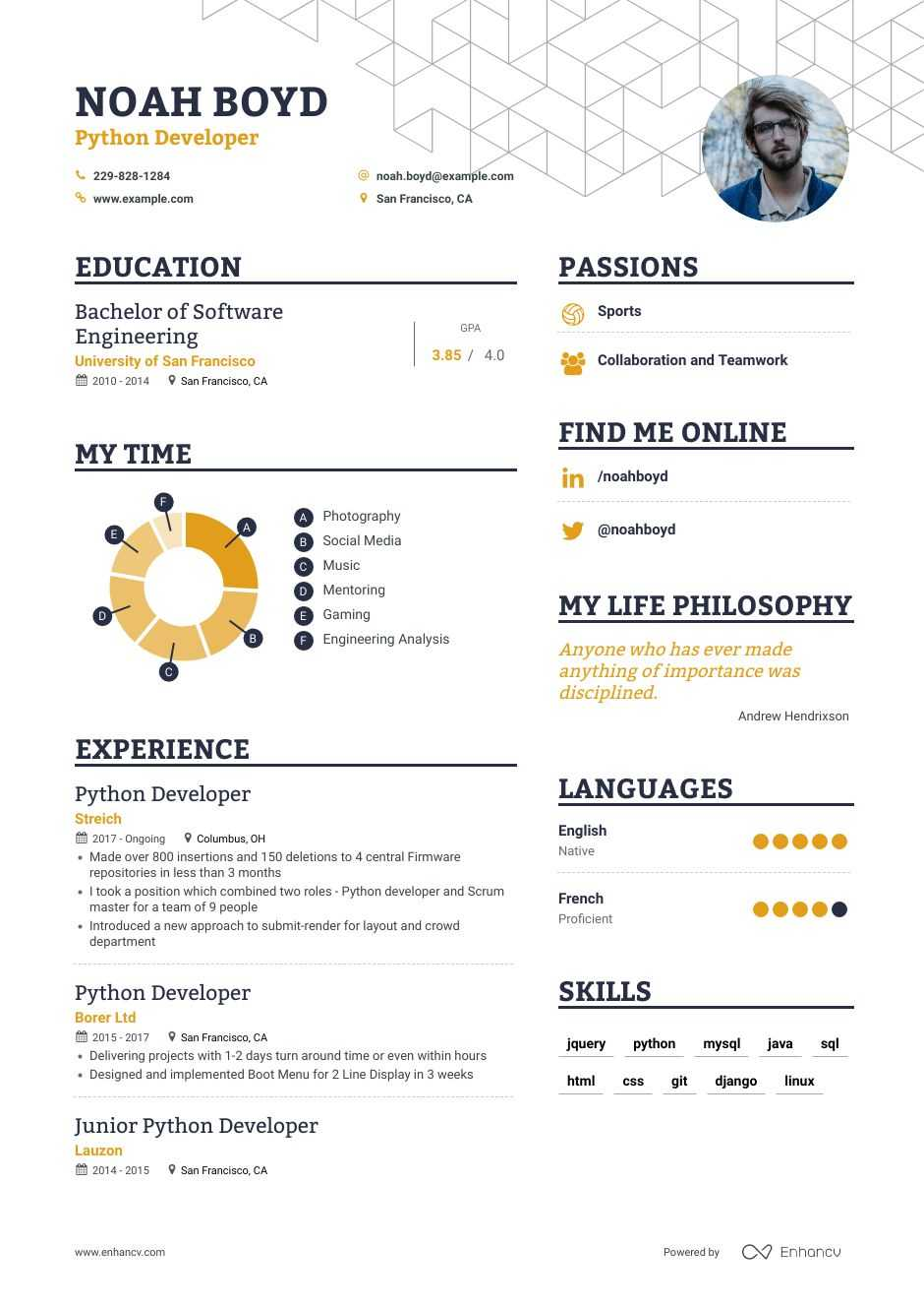 python developer resume examples pro tips featured enhancv for years experience math Resume Python Developer Resume For 2 Years Experience
