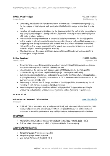 python developer resume sample word pdf template free tips for years experience sm press Resume Python Developer Resume For 2 Years Experience