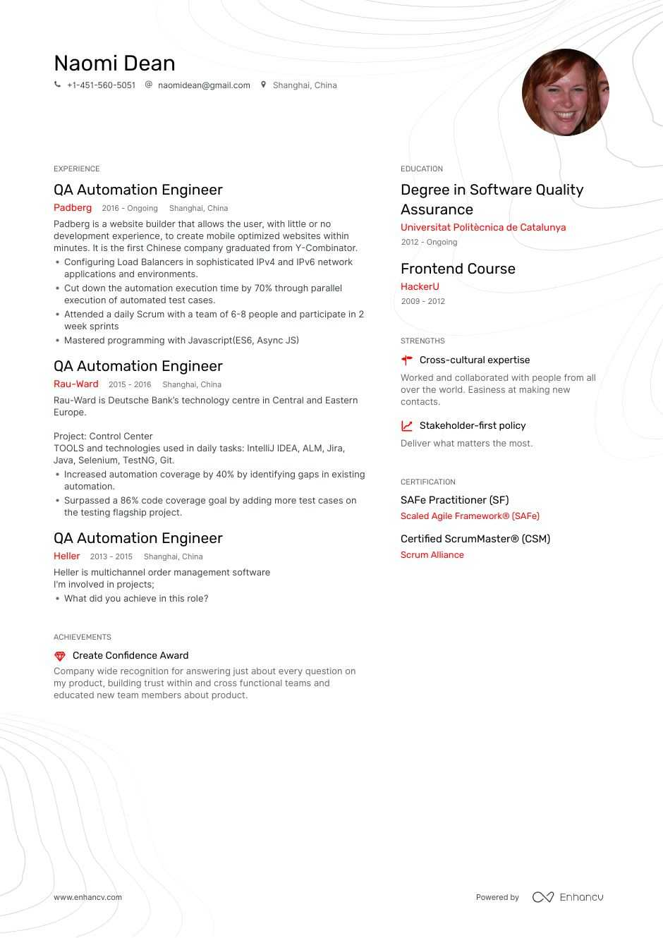 qa automation resume example for enhancv tester receptionist job description templates Resume Automation Tester Resume
