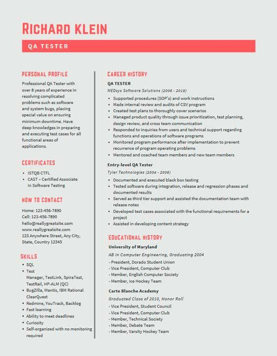 qa tester resume samples templates pdf word resumes bot software sample example headline Resume Software Tester Resume Sample