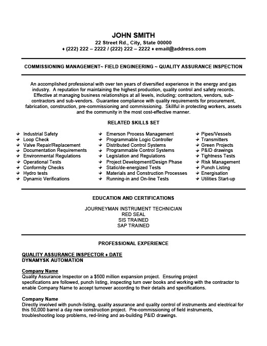 quality assurance inspector resume template premium samples example oil gas accounting Resume Oil & Gas Resume Samples