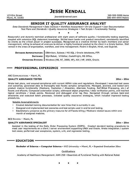quality assurance resume example sample vampire diaries episode indeed generator front Resume Quality Assurance Resume Sample