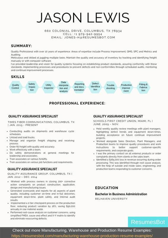 quality assurance specialist resume samples templates pdf resumes bot examples example Resume Quality Assurance Resume Examples