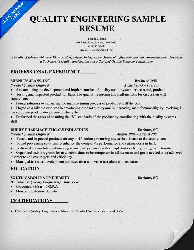 quality engineer resume sample template engineering examples electronics content reviewer Resume Electronics Quality Engineer Resume