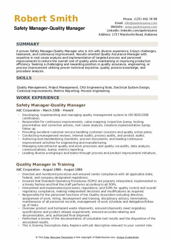 quality manager resume samples qwikresume results driven example pdf professional modern Resume Results Driven Resume Example