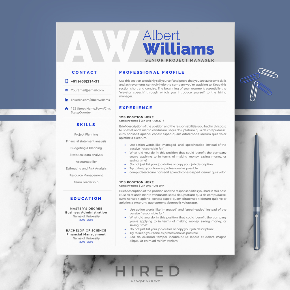 r05 albert professional resume modern cv templates for word instant matching cover letter Resume Gumroad Resume Templates