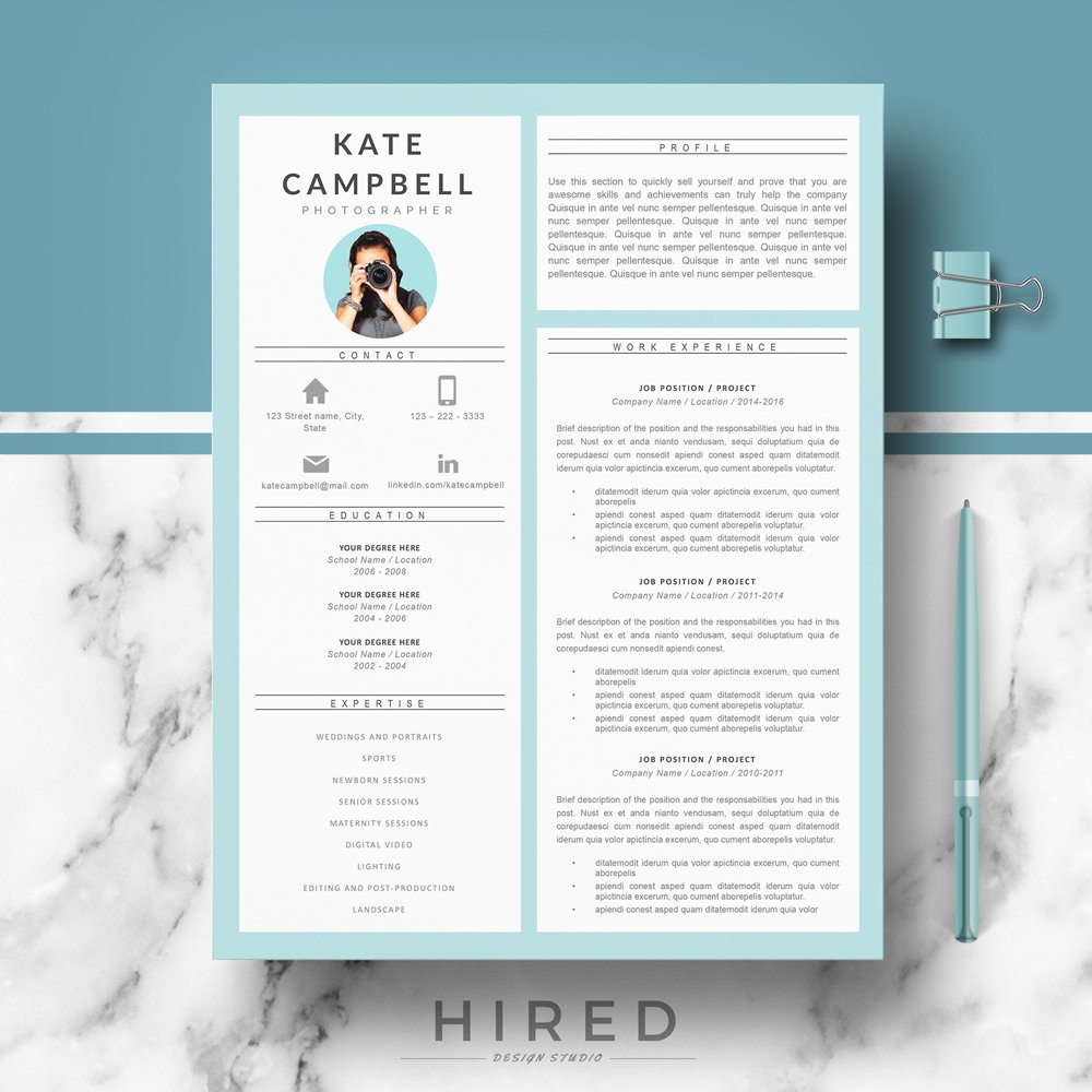 r27 kate creative and modern resume template for word cv design matching cover letter Resume Gumroad Resume Templates