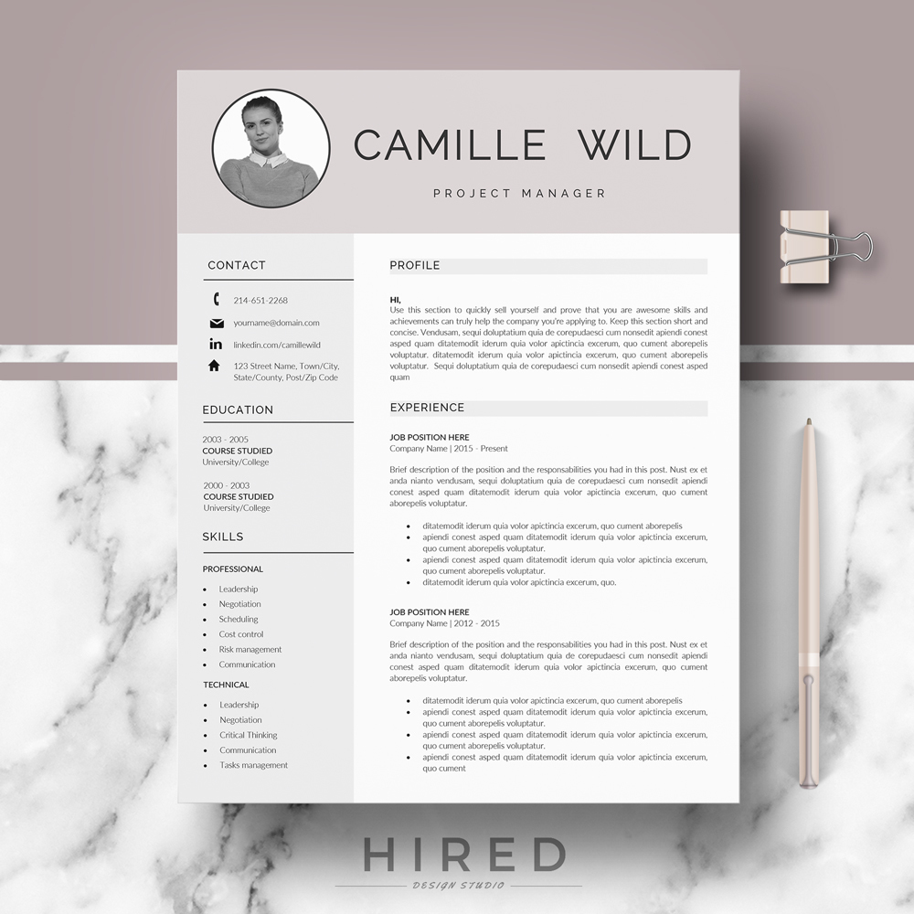 r30 camille wild professional cv template for manager resume word matching cover letter Resume Gumroad Resume Templates