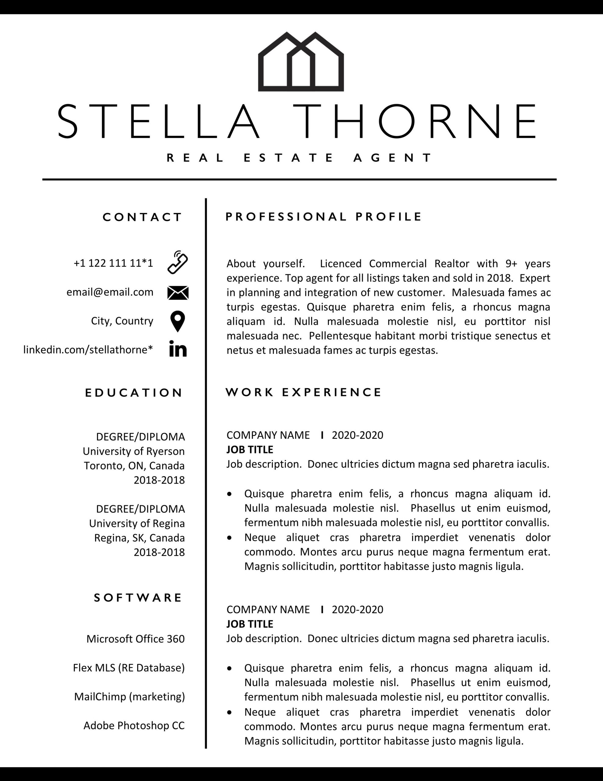 realtor resume free templates format for estate job of agent template scaled self Resume Resume Format For Real Estate Job
