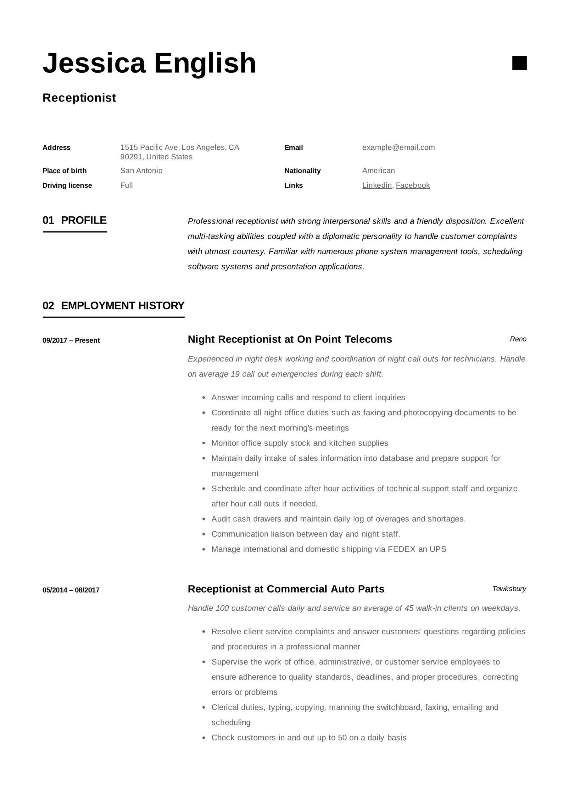 receptionist resume example writing guide samples pdf gym front desk jessica english Resume Gym Front Desk Resume