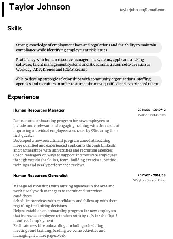 recruiter resume samples all experience levels workday template hr manager thumbnail for Resume Workday Resume Template
