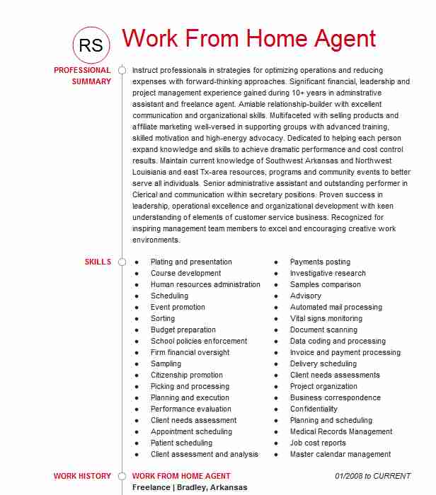 remote work at home agent resume example alorica formally west template electronic Resume Remote Work Resume Template
