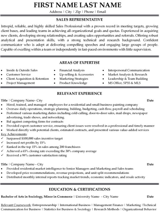 representative resume sample template best templates for professionals professional Resume Best Resume Templates For Sales Professionals
