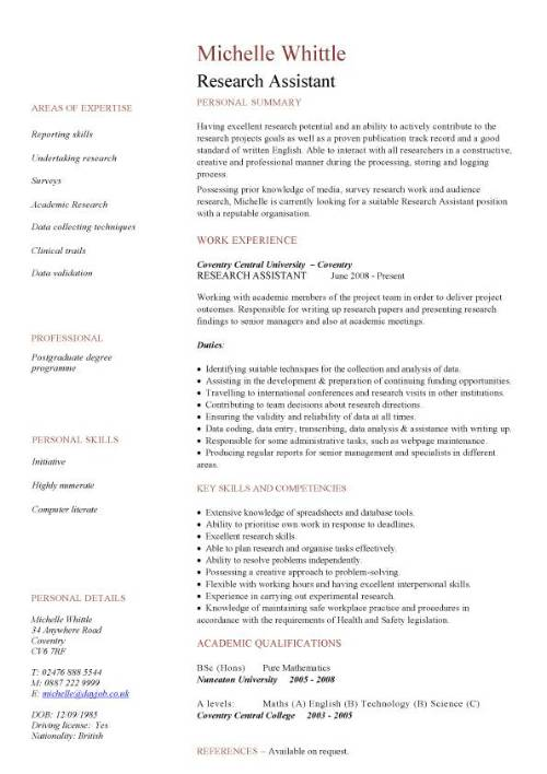 research assistant cv sample resume pic template free database software for recruiters Resume Research Assistant Resume