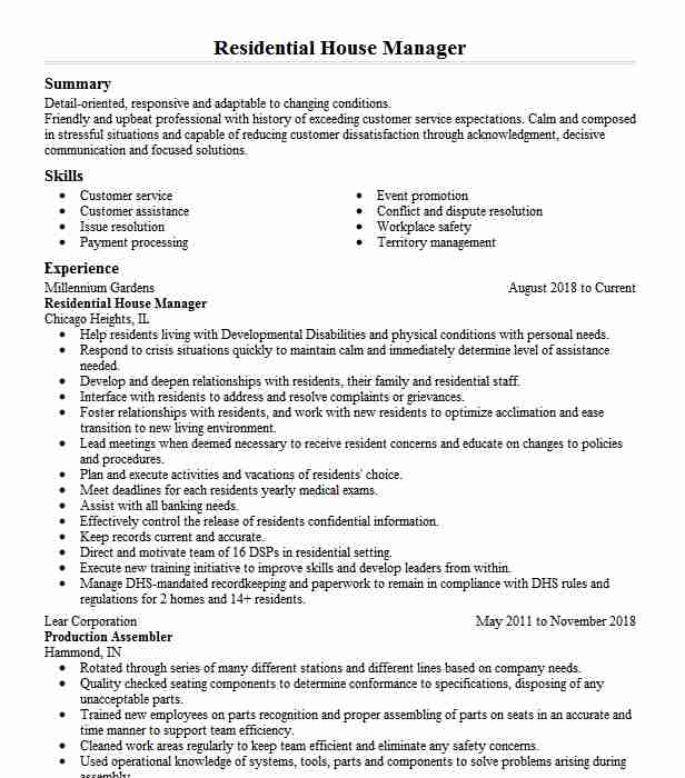 residential house manager resume example eichler residence tampa private estate company Resume Estate Manager Resume Example