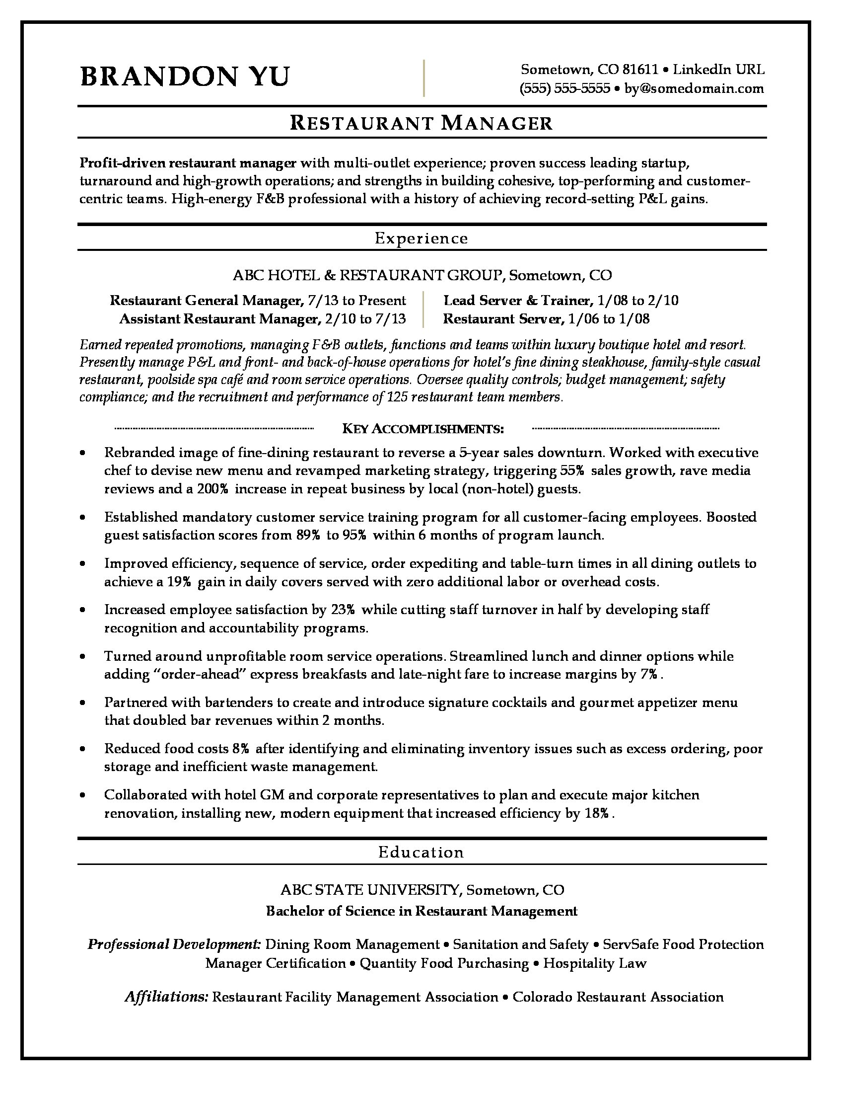 restaurant manager resume sample monster achievements examples mit mba consulting Resume Resume Achievements Examples