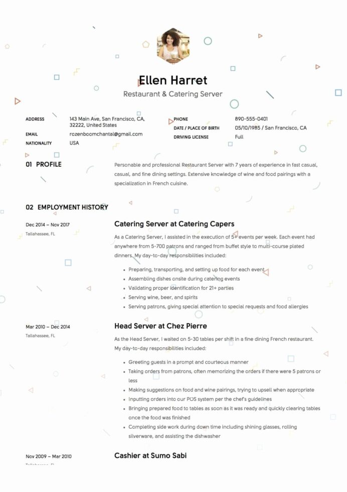 restaurant server resume example new sample free downloads examples good fine dining Resume Fine Dining Server Resume