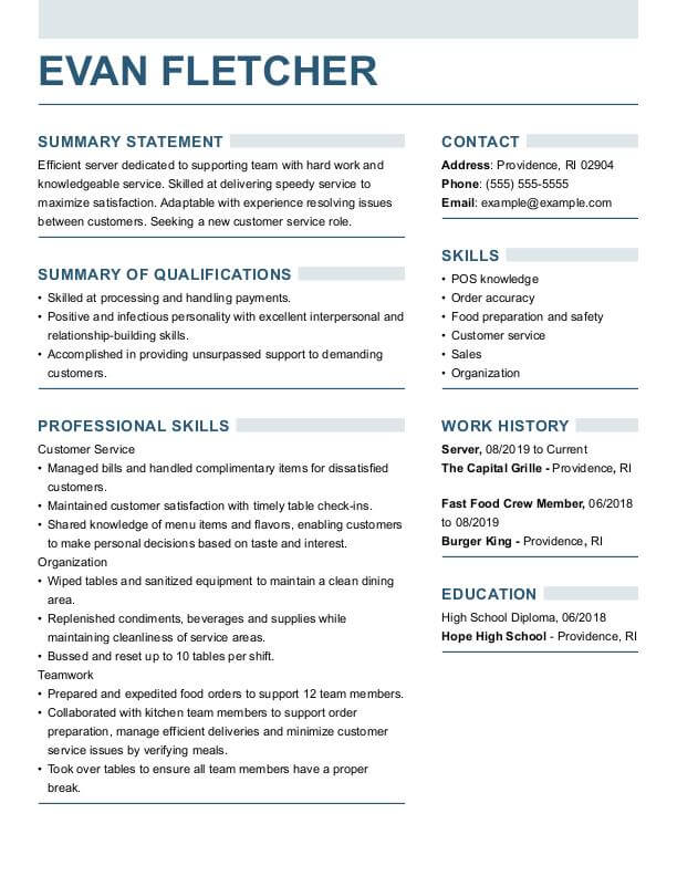 resume builder for perfect resumes summary generator server strong funcc furniture Resume Summary For Resume Generator