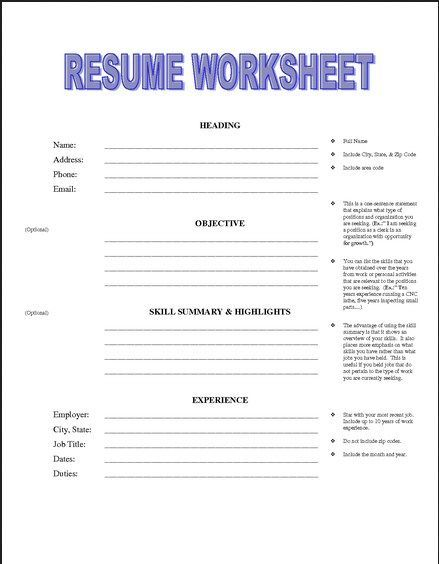 resume building worksheet for high school students with worksheets printable quiz coin Resume Resume Worksheets For Students