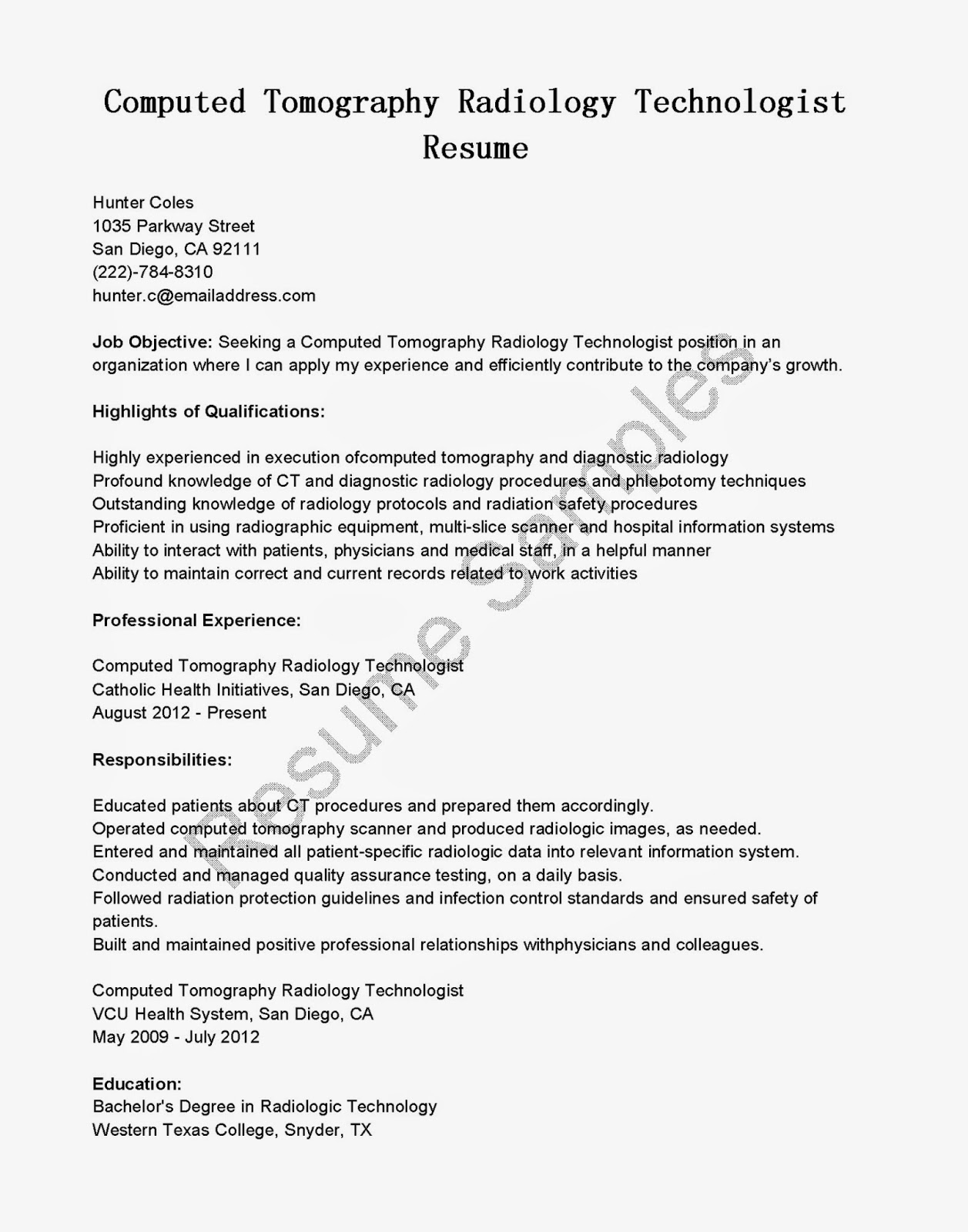 resume cover letter for radiologic technologist fresh graduate computed tomography Resume Resume For Radiologic Technologist Fresh Graduate