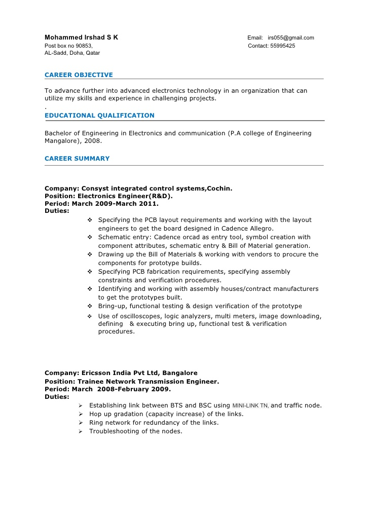 resume electronics engineer 3years experience sample for years educational assistant Resume Sample Resume For 3 Years Experience