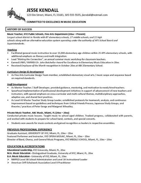 resume example in teacher examples teaching of music typography template leasing Resume Resume Of A Music Teacher