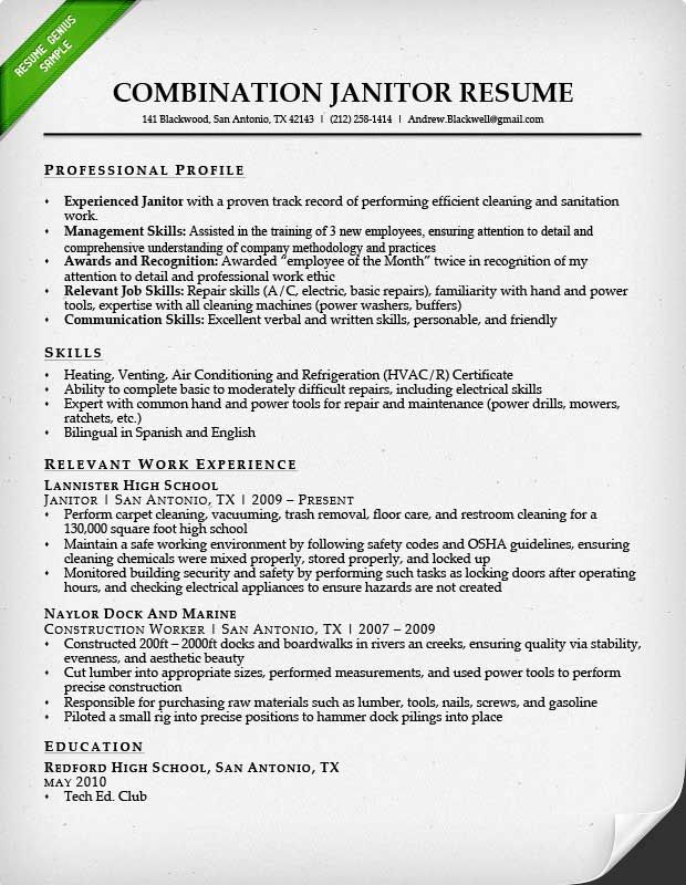 resume examples janitorial writing sample of hobbies on jr underwriter construction Resume Janitorial Sample Resume Examples