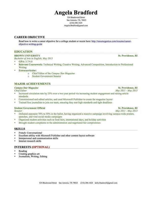 resume examples no college student template experience education photography objective Resume Resume Template No College Education
