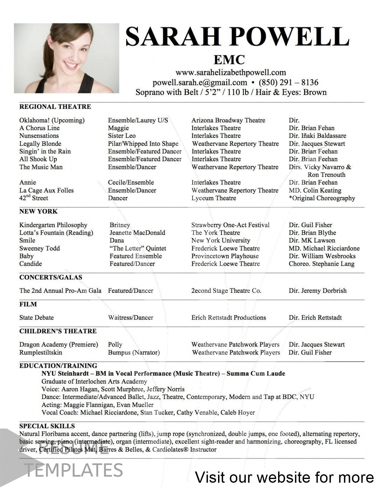 resume examples no experience acting template child dance for audition rules freshers Resume Child Dance Resume For Audition