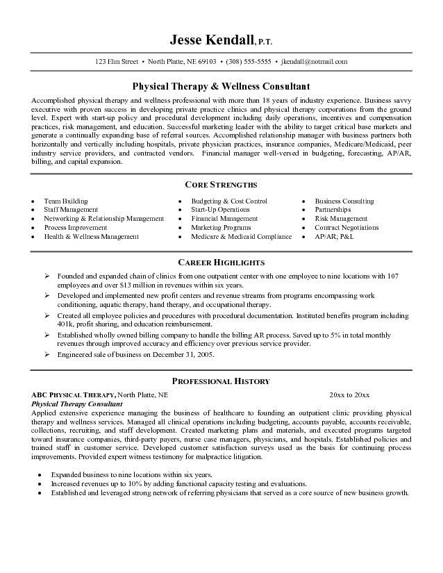 resume examples physical therapist assistant occupational therapy templates free Resume Physical Therapy Resume Templates Free